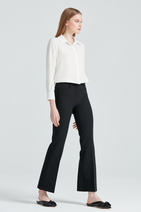 Beş Cep İspanyol Paça Pantolon-Siyah