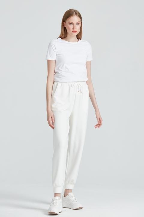 On Fashion - Bileği Lastikli Jogger Pantolon-Beyaz