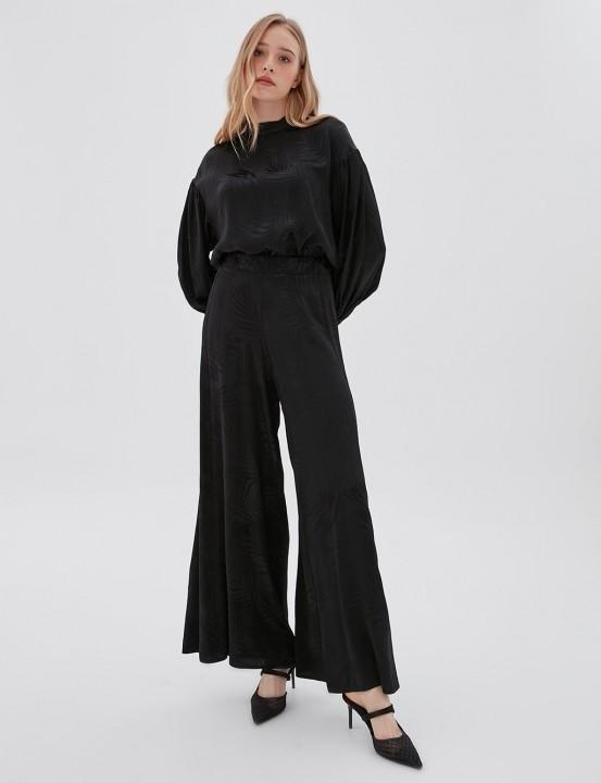 KAYRA - Bol Paça Çiçek Desenli Rahat Pantolon-Siyah