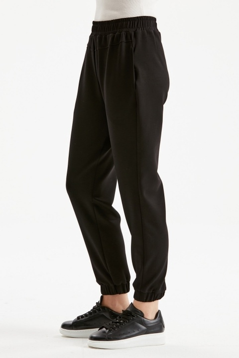 Cepli Rahat Kalıp Spor Pantolon-Siyah