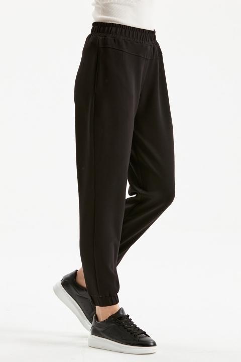 Cepli Rahat Kalıp Spor Pantolon-Siyah - Thumbnail
