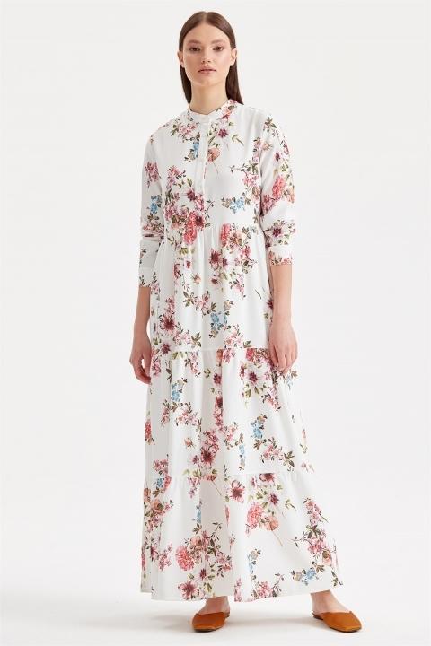 Tığ Triko - Çiçek Desenli Elbise