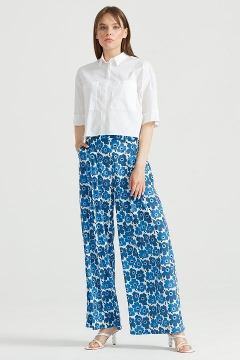 Çiçek Desenli Pantolon MAVİ - Thumbnail