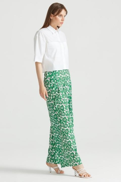 Tığ Triko - Çiçek Desenli Pantolon YEŞİL