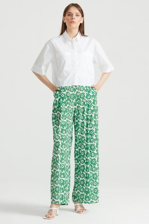 Çiçek Desenli Pantolon YEŞİL