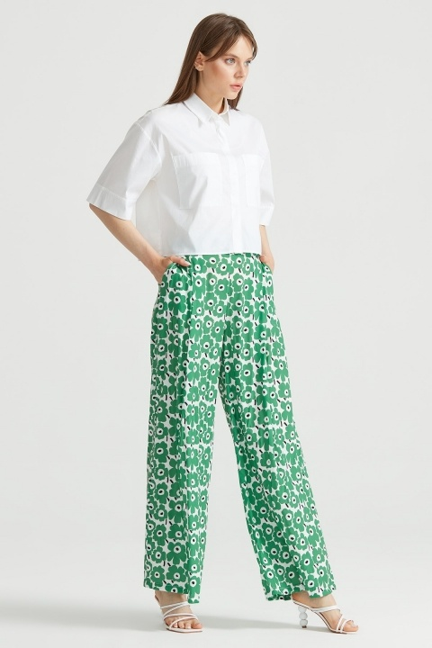 Çiçek Desenli Pantolon YEŞİL - Thumbnail