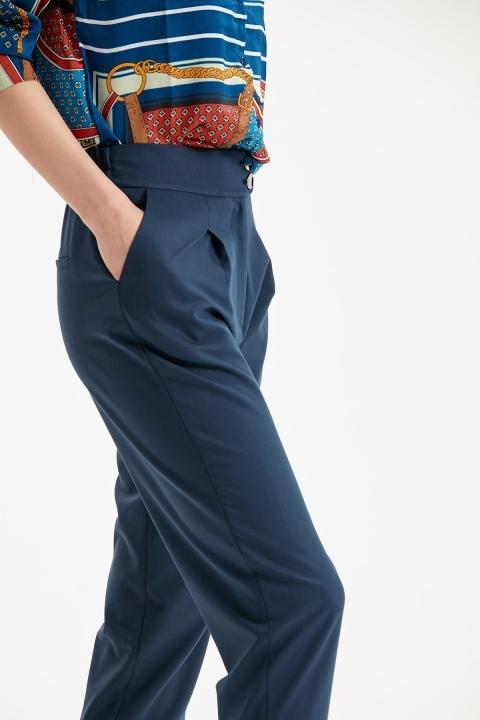 Çift Düğmeli Paça Detaylı Pantolon-Lacivert
