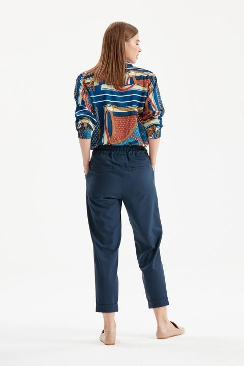 Çift Düğmeli Paça Detaylı Pantolon-Lacivert - Thumbnail