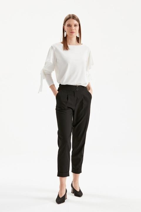 KAYRA - Çift Düğmeli Paça Detaylı Pantolon-Siyah
