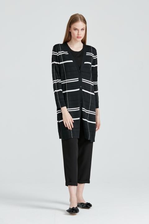 On Fashion - Çizgi Detaylı İki Renkli Hırka-Siyah