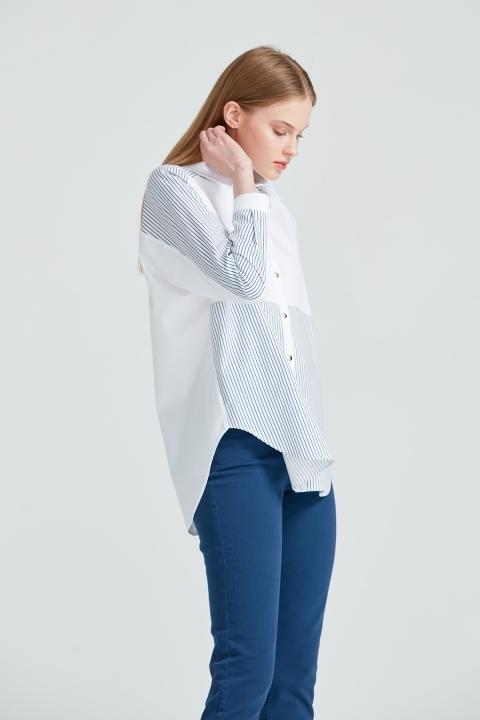 Çizgi Detaylı Rahat Kalıp Gömlek-Beyaz - Thumbnail