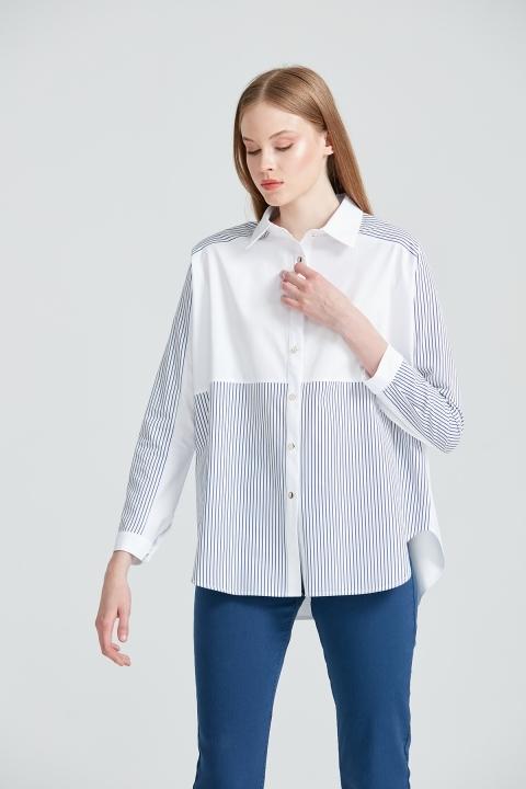 Çizgi Detaylı Rahat Kalıp Gömlek-Beyaz