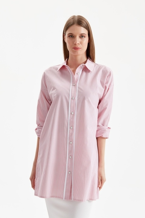 DOQUE - Çizgili Gömlek Tunik-Kırmızı