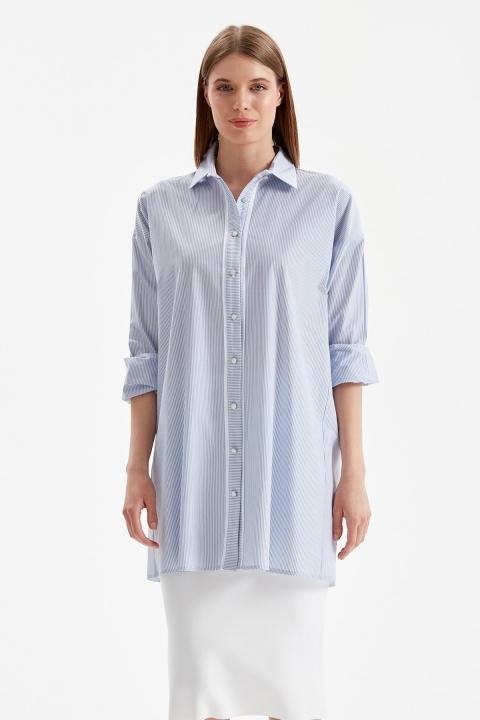 DOQUE - Çizgili Gömlek Tunik-Mavi