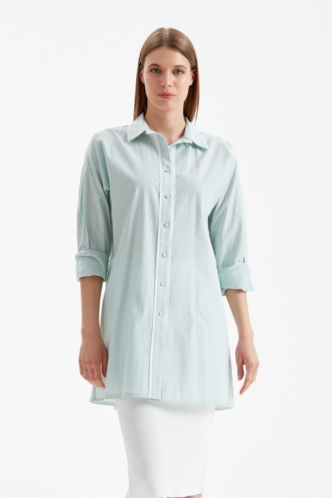 DOQUE - Çizgili Gömlek Tunik-Yeşil