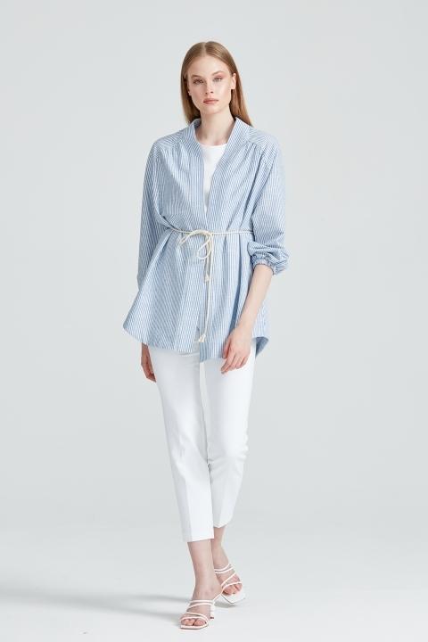 KAYRA - Çizgili Kimono-Mavi