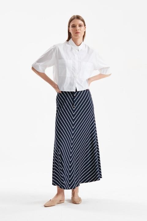 On Fashion - Çizgili Uzun Etek-Lacivert