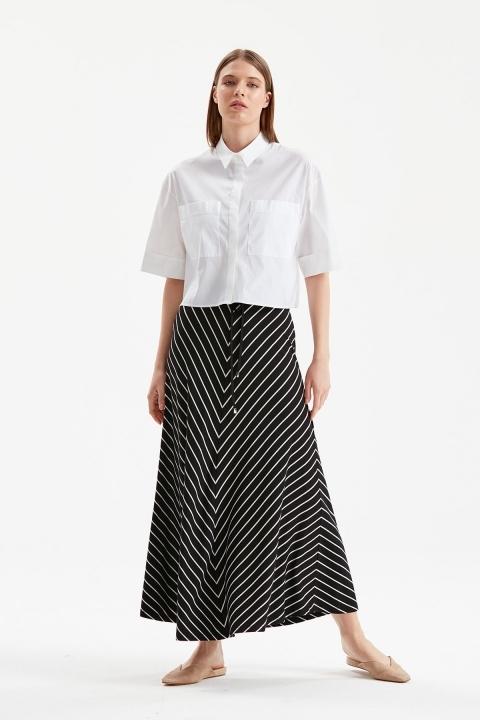 On Fashion - Çizgili Uzun Etek-Siyah