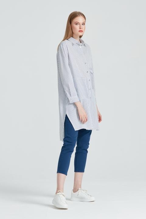 On Fashion - Çizgili ve Cep Detaylı Tunik-Mavi