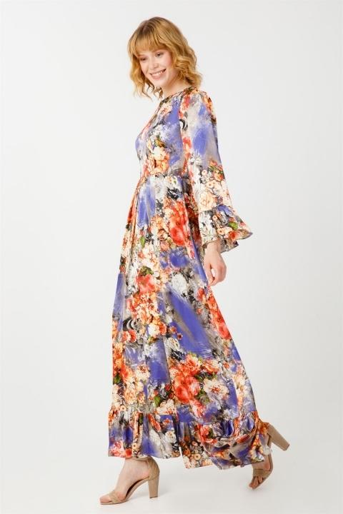 Desenli Volanlı Elbise