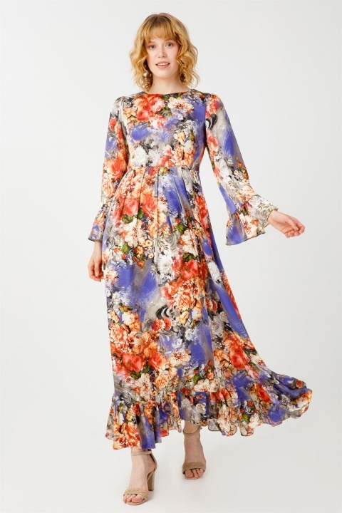Desenli Volanlı Elbise - Thumbnail