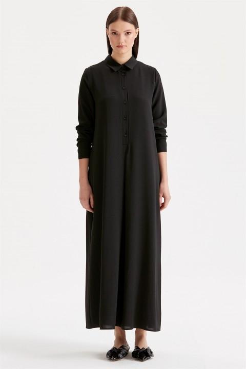 Tığ Triko - Düğme Detaylı Gömlek Elbise