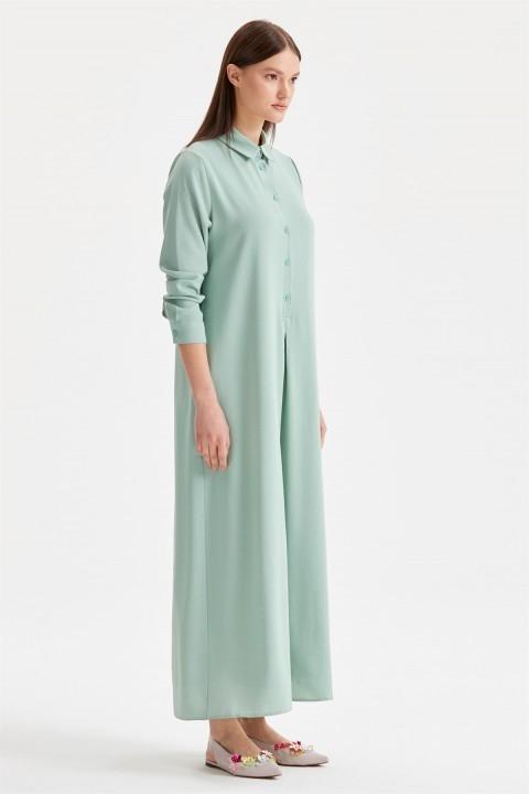 Düğme Detaylı Gömlek Elbise - Thumbnail