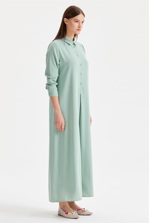 Düğme Detaylı Gömlek Elbise
