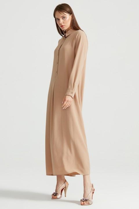 Tığ Triko - Düğme Detaylı Gömlek Elbise Taş