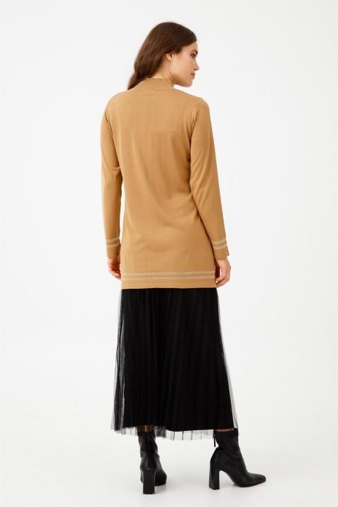 Düğmeli Sim Çizgi Detaylı Triko Tunik Camel - Thumbnail