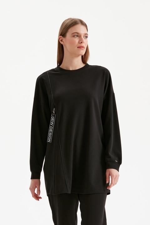 KAYRA - Fermuar Detaylı Sıfır Yaka Sweatshirt-Siyah