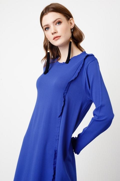Fırfır Detaylı Rayon Elbise /C2 - Thumbnail