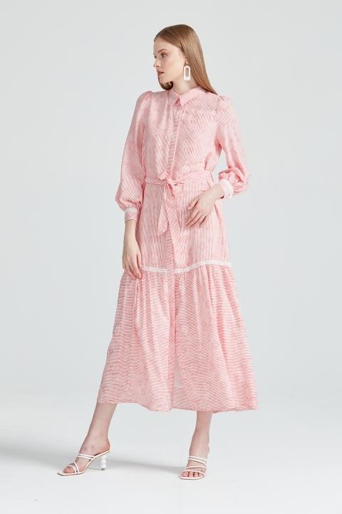 KAYRA - Fisto Detaylı Çizgili Elbise -Kırmızı
