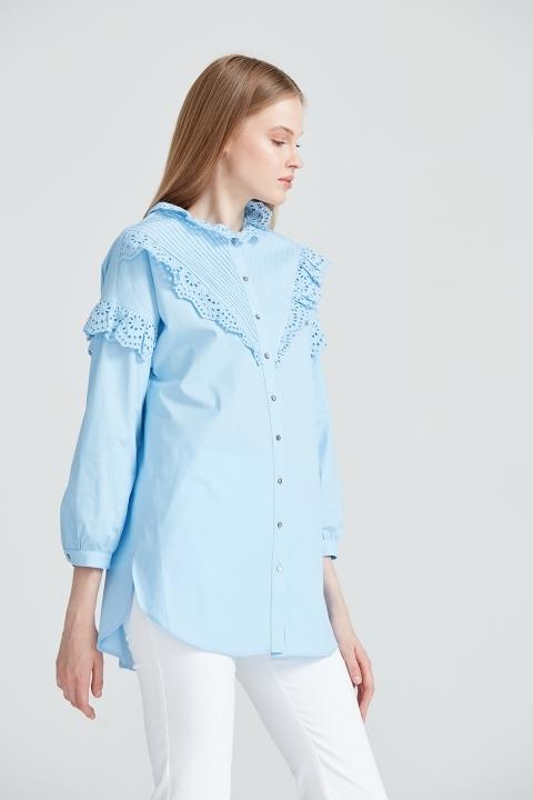 KAYRA - Fistolu Gömlek Tunik-Mavi