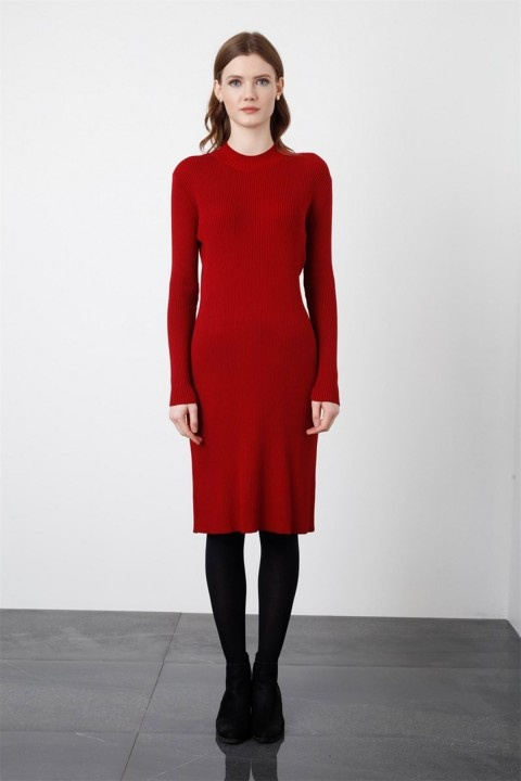 Tığ Triko - Fitilli Triko Kısa Elbise Kırmızı