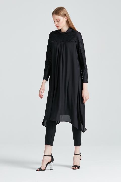 KAYRA - Güpür Detaylı Robadan Pileli Tunik-Siyah