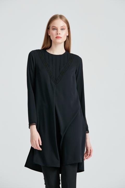 KAYRA - Güpürlü Sıfır Yaka Tunik-Siyah