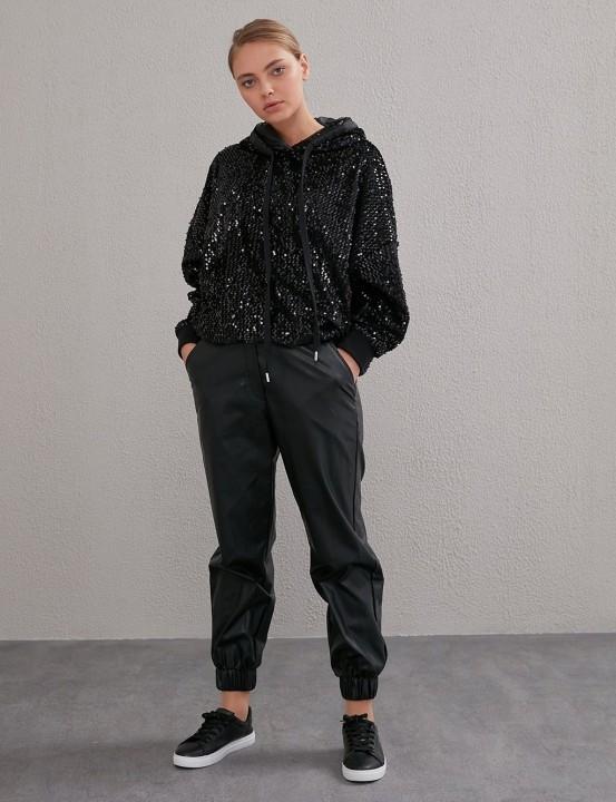 KAYRA - Beli Lastikli Spor Kesim Deri Pantolon-Siyah