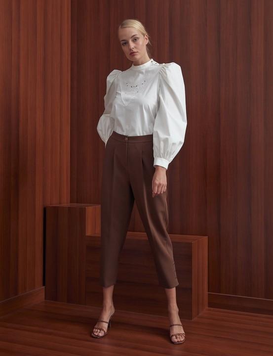KAYRA - Pileli Yüksek Bel Pantolon-Kahverengi