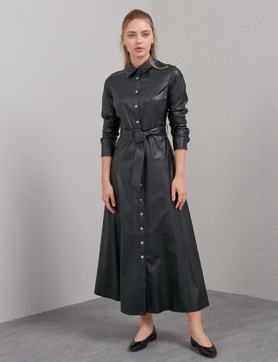 KAYRA - Kemerli Deri Elbise-Siyah
