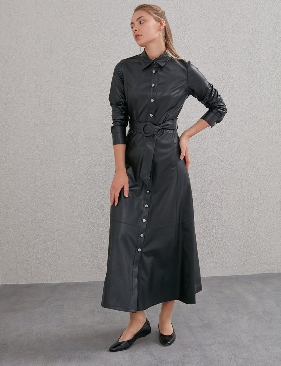 Kemerli Deri Elbise-Siyah - Thumbnail