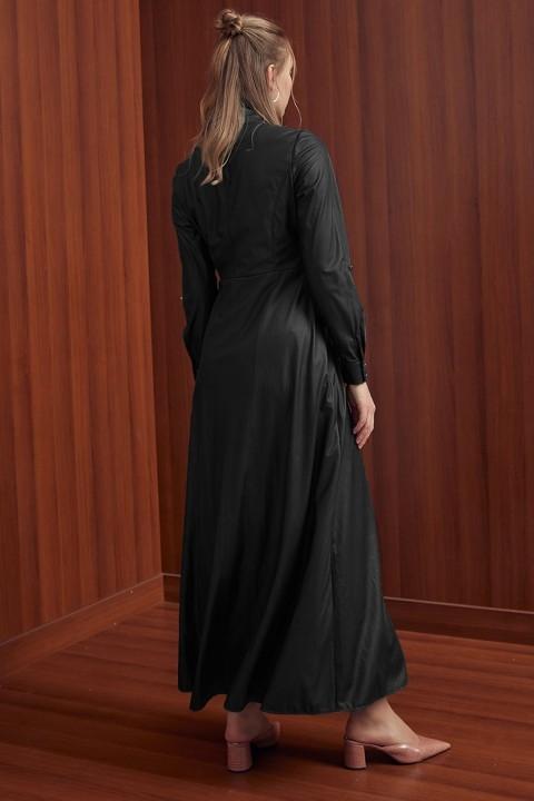 Yandan Bağlamalı Elbise-Siyah - Thumbnail