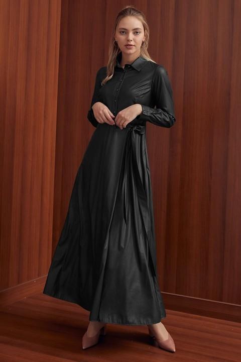 KAYRA - Yandan Bağlamalı Elbise-Siyah