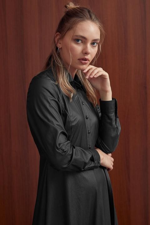 Yandan Bağlamalı Elbise-Siyah