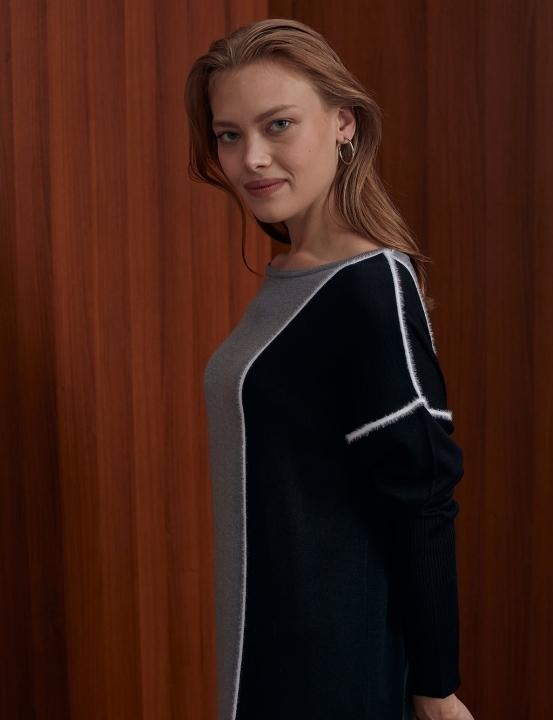 Tüylü İp Şeritli Parçalı Triko Elbise-Gri