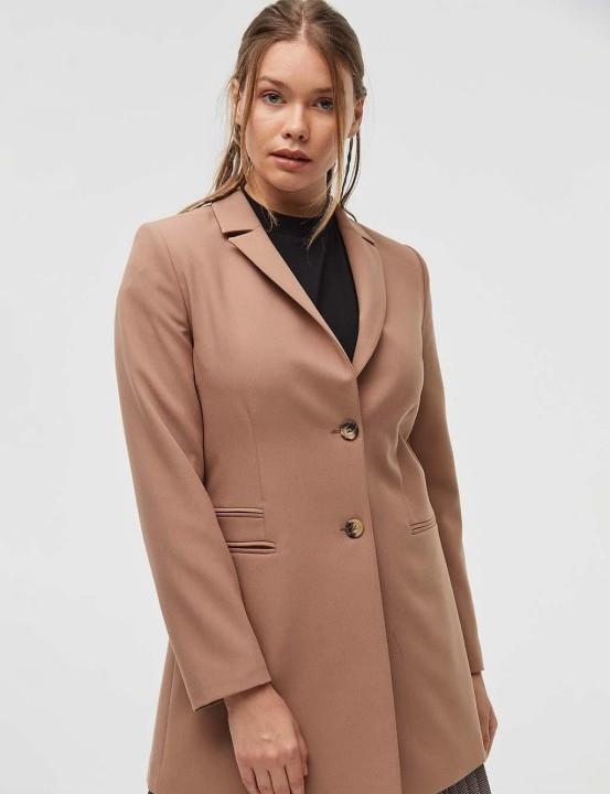 KAYRA - Kemik Düğme Detaylı Blazer Ceket-Camel