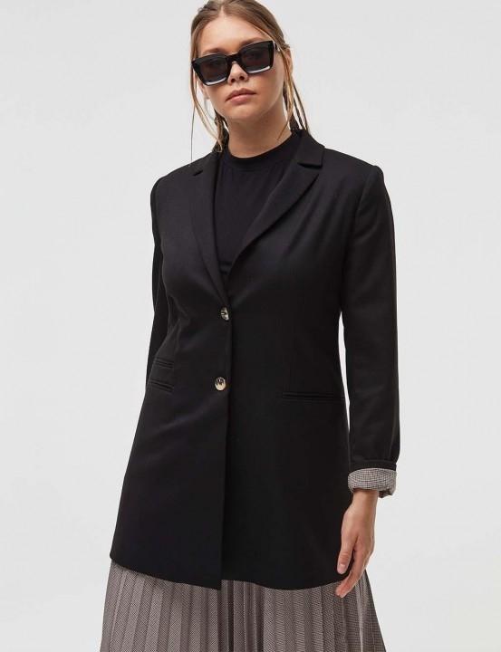 KAYRA - Kemik Düğme Detaylı Blazer Ceket-Siyah