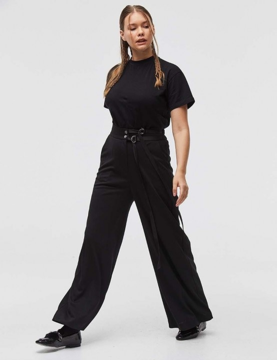 KAYRA - Bol Kesim Çift Kemerli Pantolon-Siyah