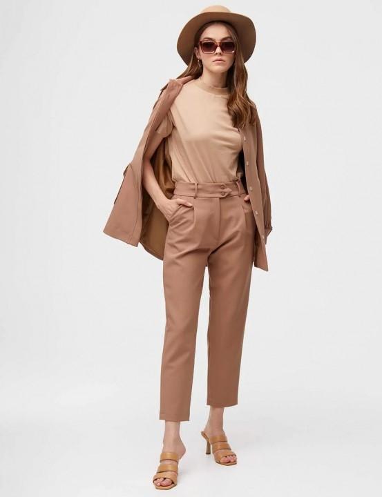 KAYRA - Pileli Çift Düğmeli Pantolon-Camel
