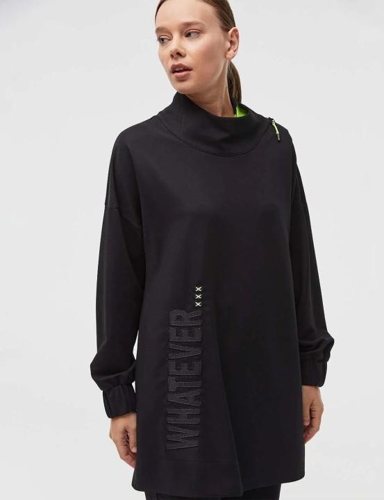 KAYRA - Yazı Detaylı Yakası Fermuarlı Sweatshirt-Siyah